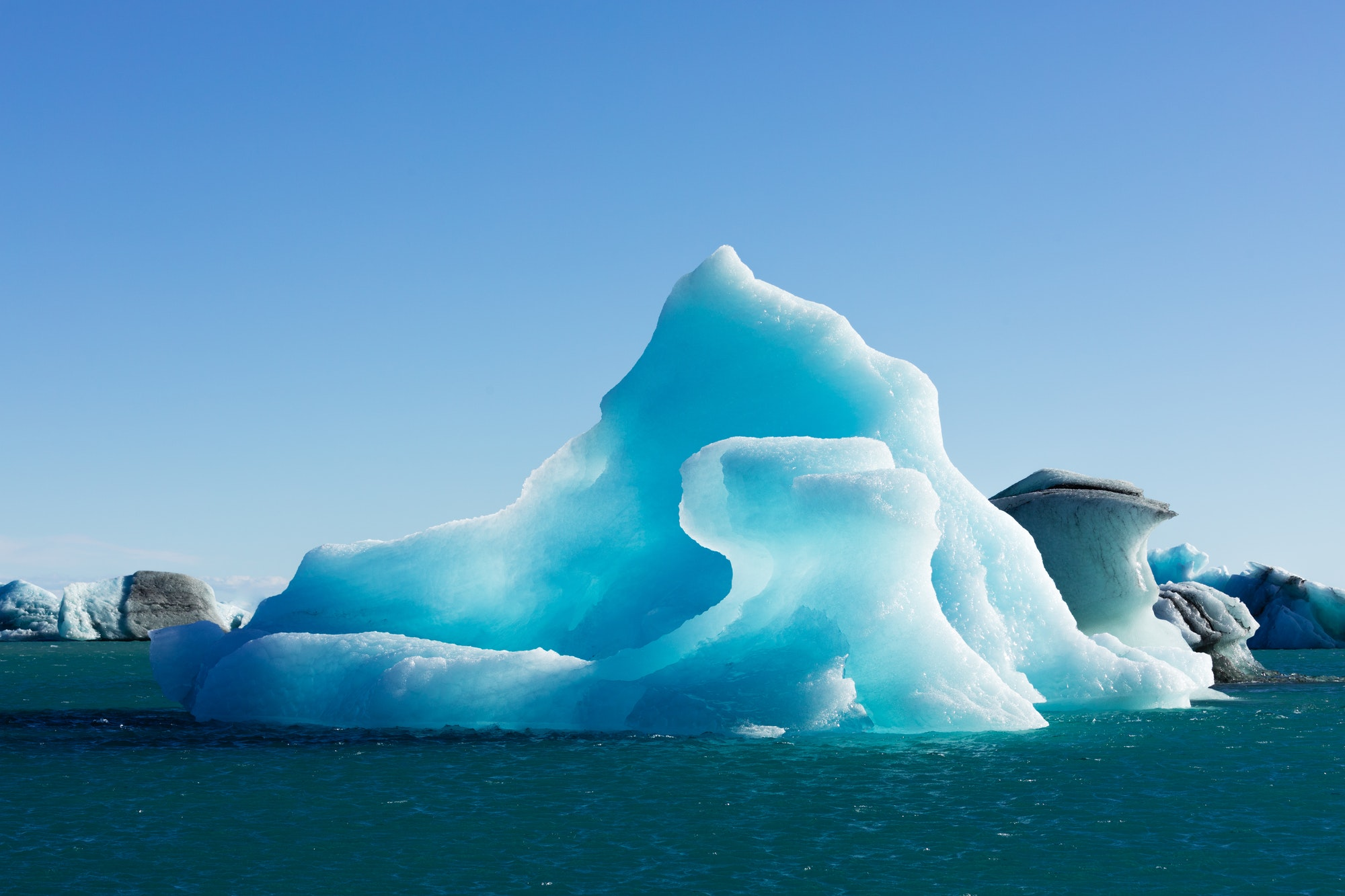 Blue icebergs in Jokulsarlon Iceland IS Europe