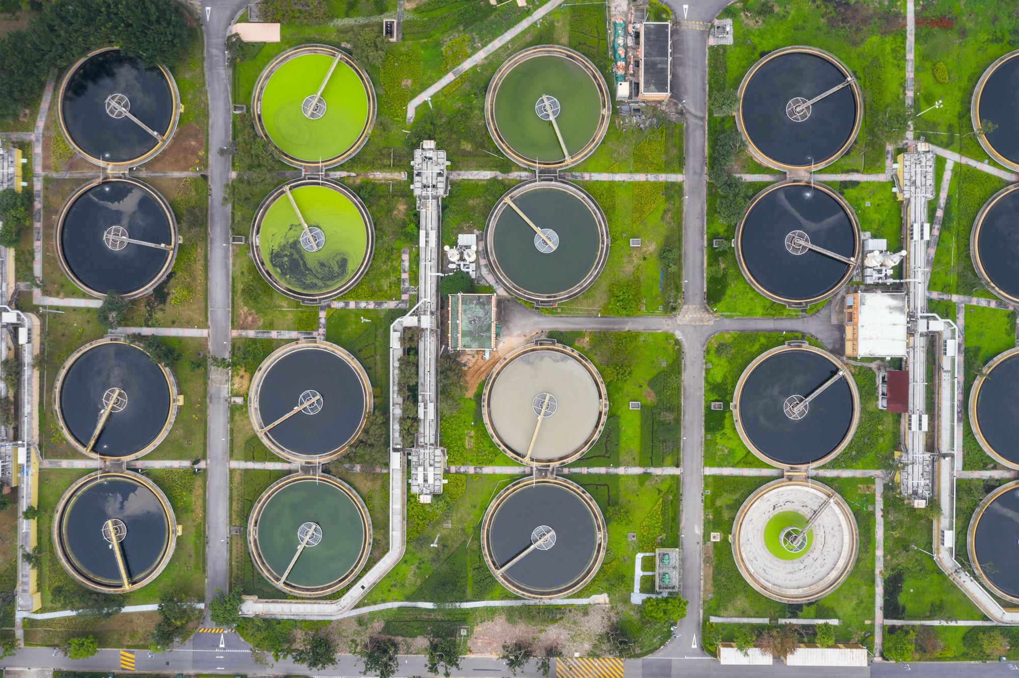 Sha Tin, Hong Kong 17 March 2019: Hong Kong Sewage treatment plant